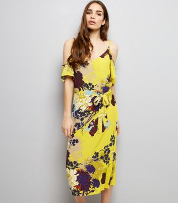Yellow Floral Print Cold Shoulder Midi Slip Dress