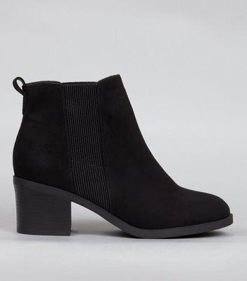 Wide Fit Black Comfort Suedette Ankle Boots