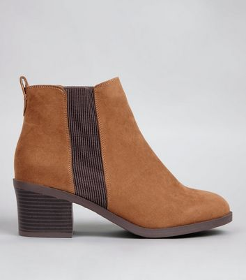 Wide Fit Tan Comfort Block Heel Chelsea Boots