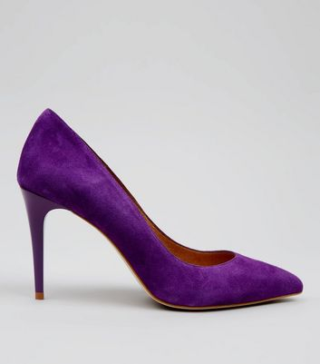 Purple Suede Pointed Matte Heels
