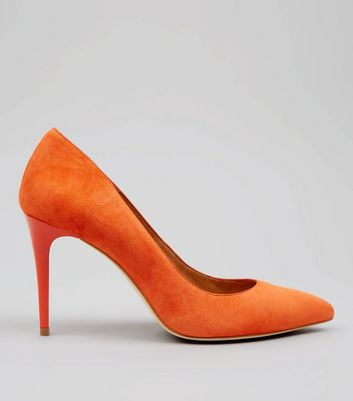 Orange Suede Pointed Matte Heels