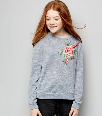 Teens Grey Fine Knit Floral Applique Jumper