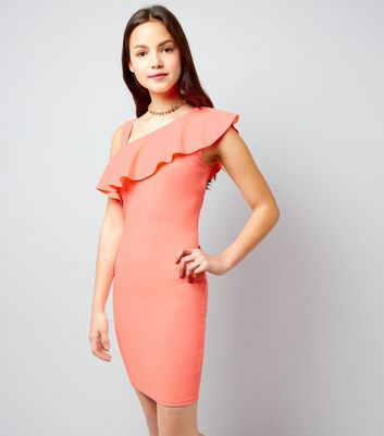 Teens Coral Asymmetric Frill Trim Bodycon Dress
