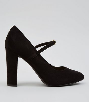 Black Suedette Ankle Strap Court Shoes