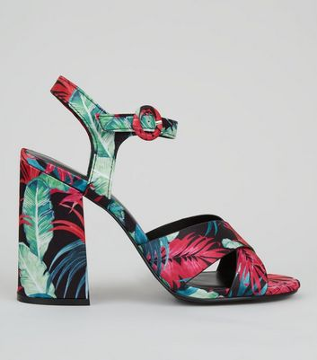 Black Leaf Print Block Heel Sandals