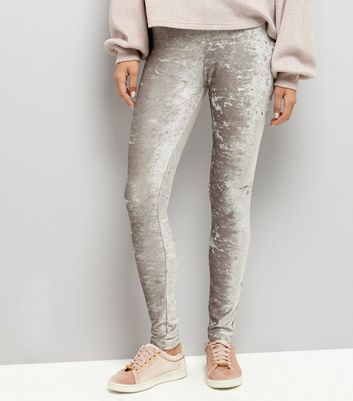 Graue Leggings aus Samt