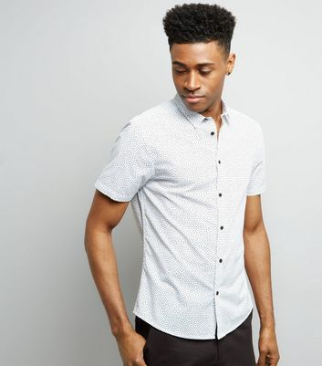White Spot Print Short Sleeve Shirt