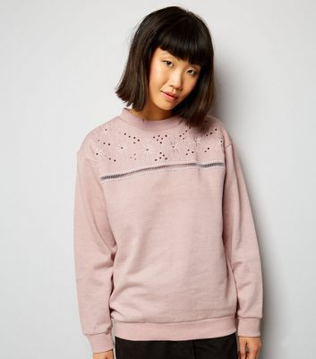 Parisian Shell Pink Floral Embroidered Cut Out Jumper