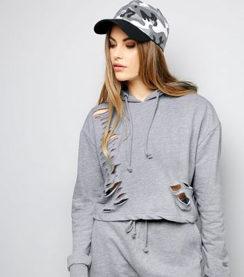 Parisian Pale Grey Cut Out Hoodie