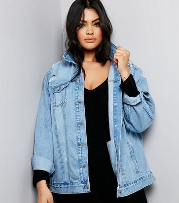 Curves Blue Ripped Oversized Denim Jacket