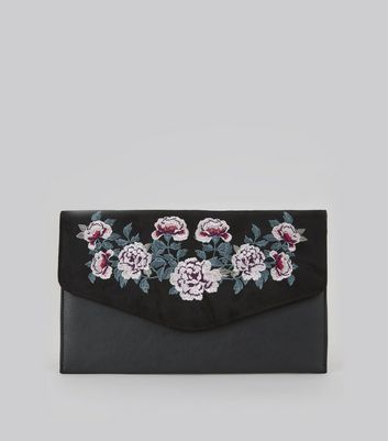 Black Suedette Panel Floral Embroidered Clutch