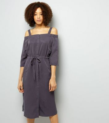 Grey Tie Waist Cold Shoulder Midi Dress