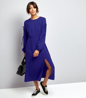 Blue Tie Sleeve Split Side Midi Dress