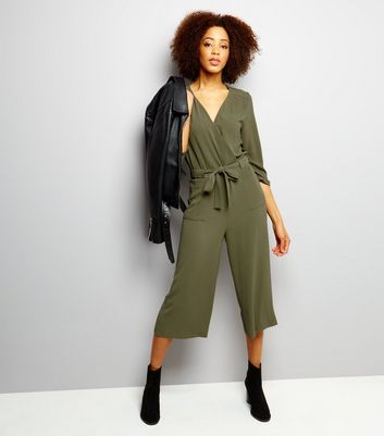 Khaki Wrap Front Cropped Jumpsuit