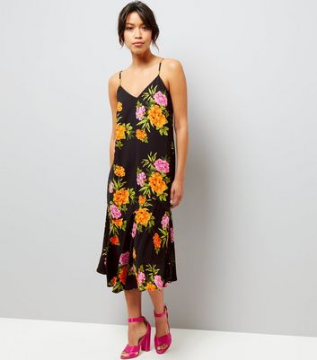 Black V Neck Floral Print Midi Dress
