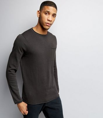Dark Grey Knitted Pocket Front Jumper