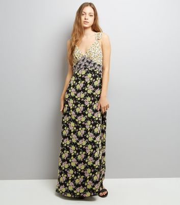 Black Floral Print Sleeveless Maxi Dress
