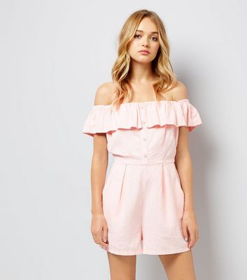 Pink Button Front Bardot Neck Playsuit