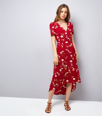 Red Floral Print V Neck Midi Dress