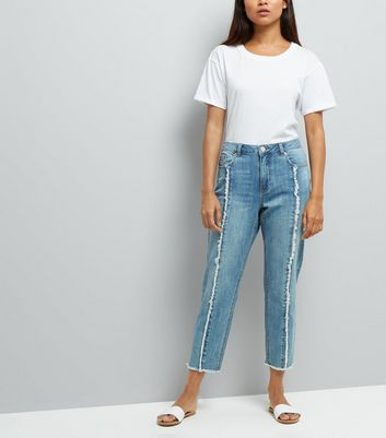 Petite Pale Blue Frayed Seam Front Straight Leg Jeans