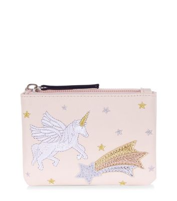 Pink Unicorn Embroidered Zip Top Purse