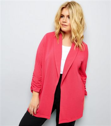 Curves Bright Pink Crepe Ruched Sleeve Blazer