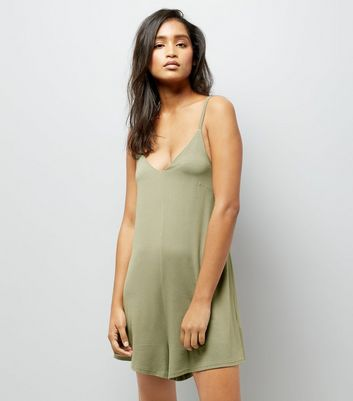 Khaki Cross Strap Back Playsuit