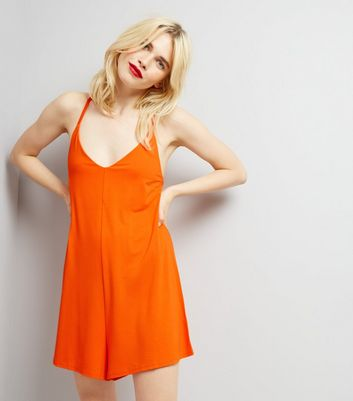 Orange Jersey Cross Back Strap Playsuit