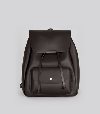 Black Pocket Front Drawstring Backpack