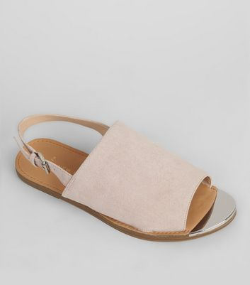 Wide Fit Pink Suedette Metal Trim Mules