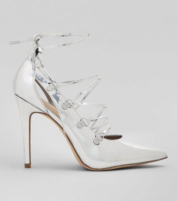 Silver Patent Lace Up Heels