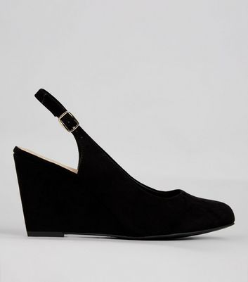 Wide Fit Black Comfort Sling Back Wedges