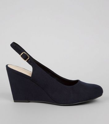 Wide Fit Navy Comfort Sling Back Wedges