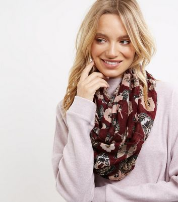 Burgundy Butterfly Print Snood