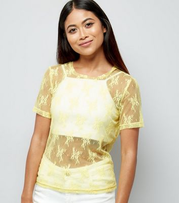 Petite Yellow Floral Lace Mesh T-Shirt
