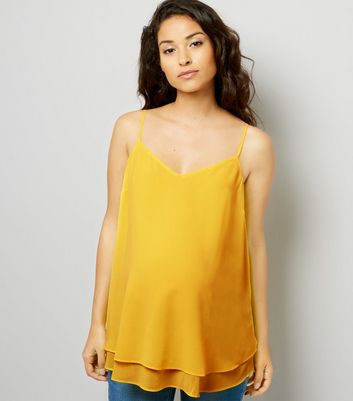 Maternity Yellow Cross Back Cami