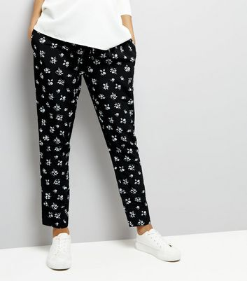 Maternity Black Floral Print Joggers