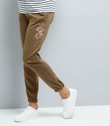 Maternity Khaki Rose Embroidered Joggers
