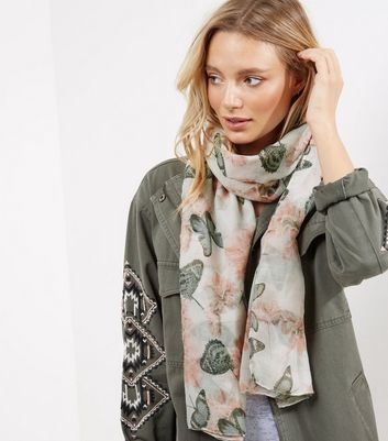 White Floral and Butterfly Print Longline Scarf