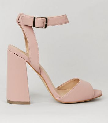 Pink Flared Block Heeled Sandals