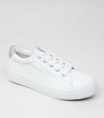 Wide Fit White Contrast Trim Trainers