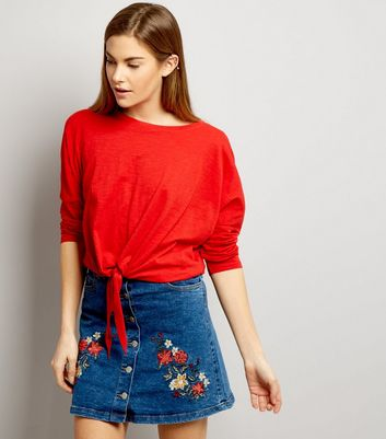 Parisian Blue Embroidered Denim Skirt