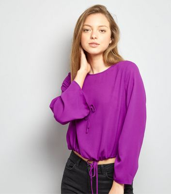 Purple Ruched Tie Hem Top