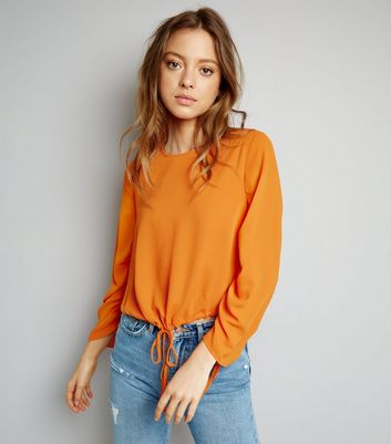 Bright Orange Ruched Tie Hem Top