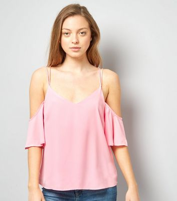Pink Cold Shoulder Cross Strap Back Top