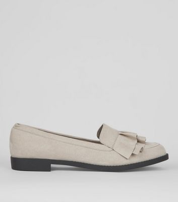 Wide Fit Grey Frill Trim Loafers