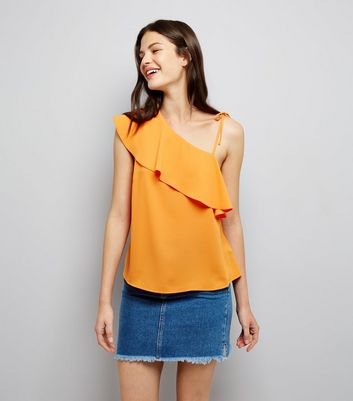 Orange Frill Trim Tie Strap Off the Shoulder Top