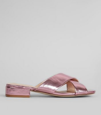 Wide Fit Pink Metallic Cross Strap Mules
