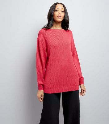 Bright Pink Bar Back Longline Jumper