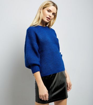 Blue Balloon Sleeve Ribbed Jumper